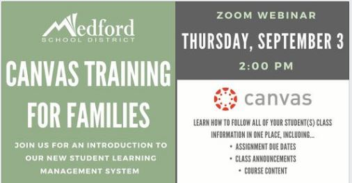 Canvas Training for Families-9/3/20 @ 2:00pm