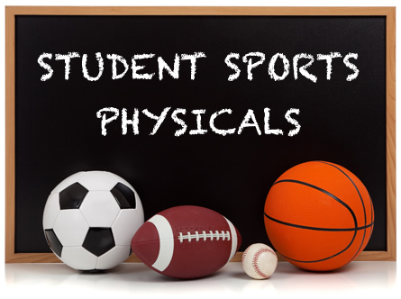 sports physicals on chalkboard